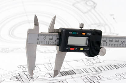 Electronic caliper on a mechanical drawing